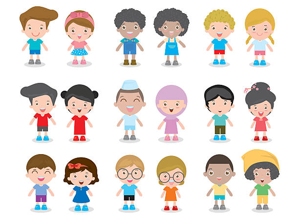 european children, america's kids, asian child, african kid, happy children - brother stock illustrations, clip art, cartoons, & icons