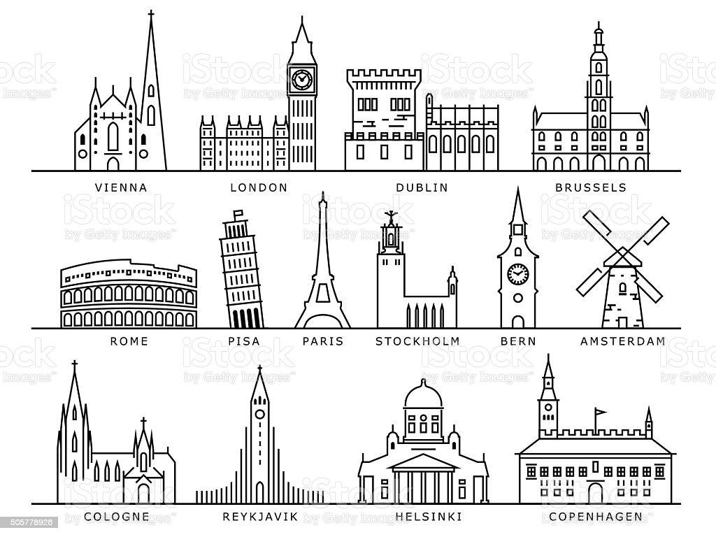 14 de las ciudades europeas atracciones turísticas, lineal estilo vectorial - ilustración de arte vectorial