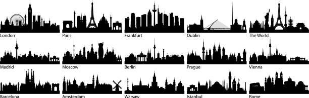ilustrações de stock, clip art, desenhos animados e ícones de european cities (all buildings are complete and moveable) - skyline