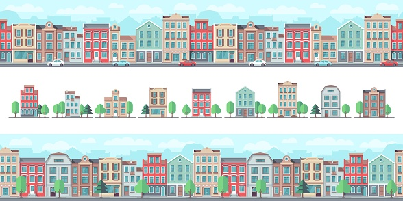 European city street. Cute suburban buildings, flat country houses. Town walking area, downtown seamless pattern and real estate vector elements