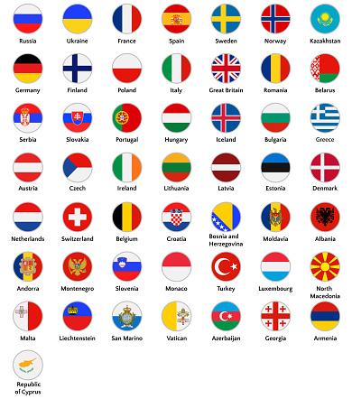 European countries icon set, flags of Great Britain, Malta, Liechtenstein, etc. Symbols in flat style