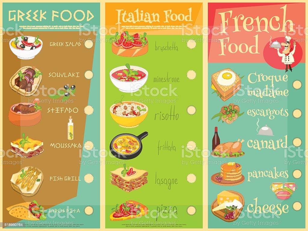 Europäische Küche Speisekarte – Vektorgrafik