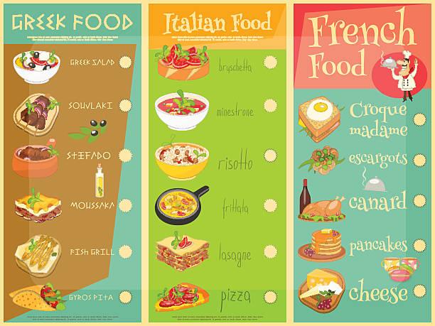 europäische küche speisekarte - risotto stock-grafiken, -clipart, -cartoons und -symbole