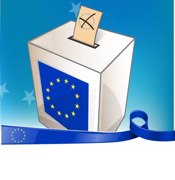 european election with ribbon flag vector art illustration