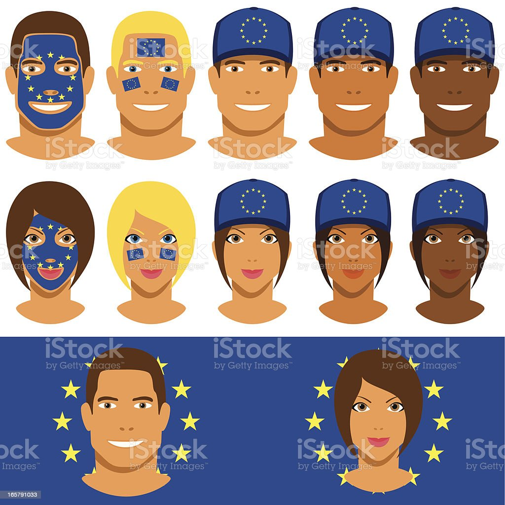 European fans, patriot with flag of Europe royalty-free european fans patriot with flag of europe stock vector art & more images of adult
