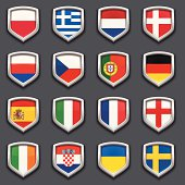 Set of 16 european flag shield icons.