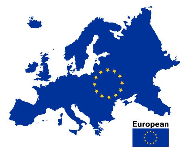 illustrations, cliparts, dessins animés et icônes de carte de drapeau européen sur fond blanc - carte europe