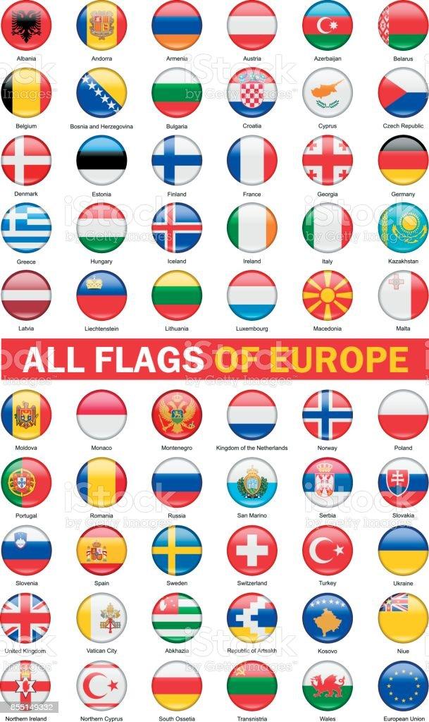 Europese vlaggen collectie. Ronde Buttons.Vector afbeeldingvectorkunst illustratie