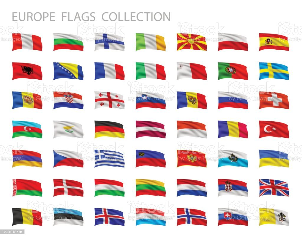 European flags collection. Vector set illustration. - ilustração de arte vetorial