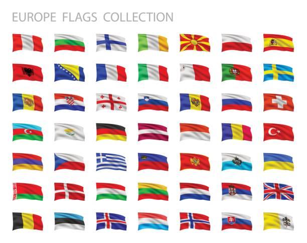 europäische flaggen sammlung. vector einstellen illustration - flagge irland stock-grafiken, -clipart, -cartoons und -symbole