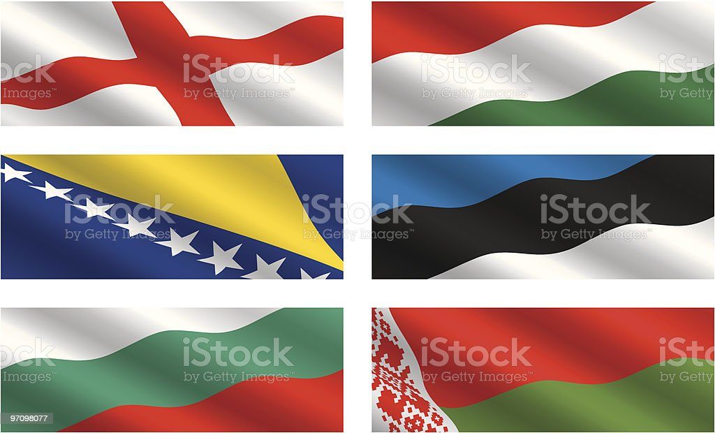 European Flags Flying in the Wind royalty-free stock vector art