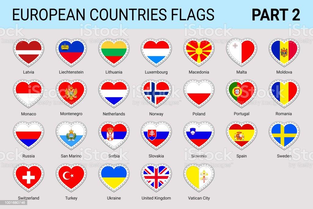 Europäische Flaggen Aufkleber Set Vektoreuropäische Flaggen Sammlung ...