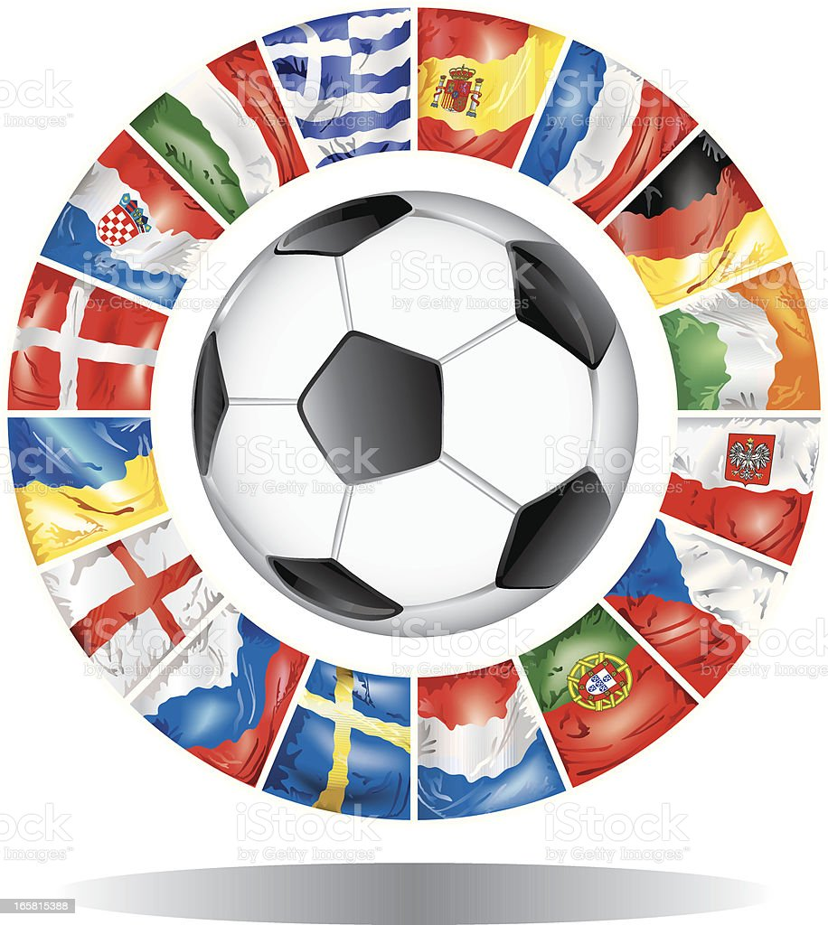 European Football Championship 2012 flags of participants royalty-free stock vector art