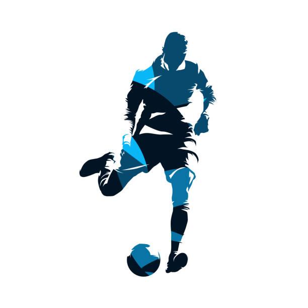 stockillustraties, clipart, cartoons en iconen met europees voetballer schoppen bal, voetbal. geïsoleerde vector silhouet. vooraanzicht. teamsport - soccer player