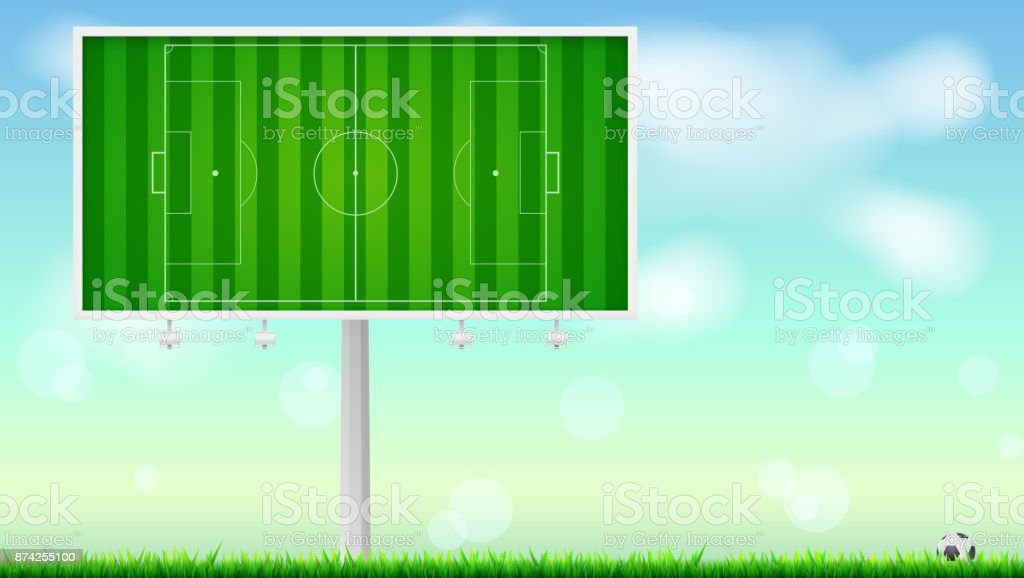 European football, soccer field on horizontal billboard. Field with markings on summer sky backdrop. Soccer ball lying in the grass. Resizable vector illustration for your, ready for print design vector art illustration