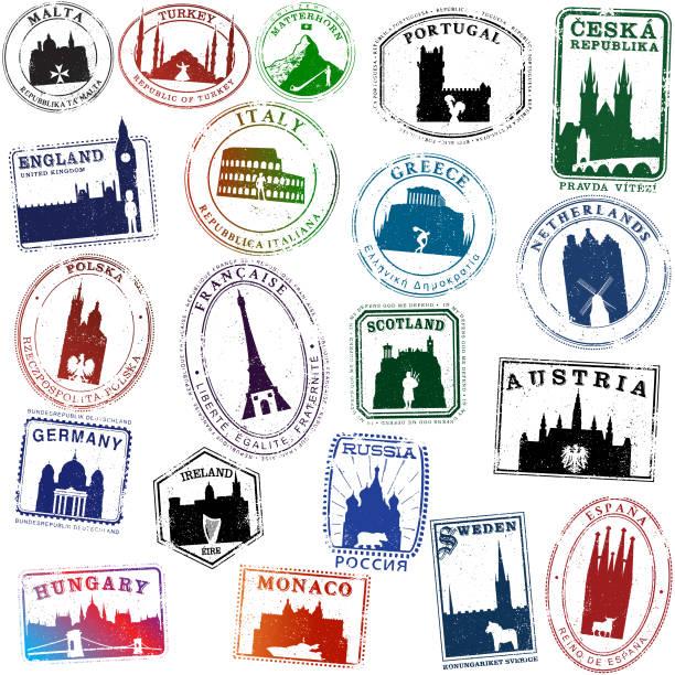 bildbanksillustrationer, clip art samt tecknat material och ikoner med europeiska ikonen resor frimärken - sweden