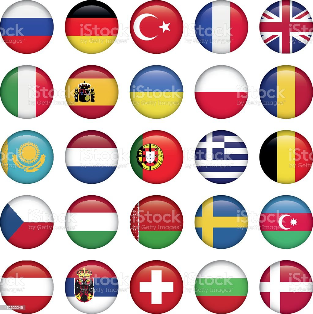 European Icons Round Flags royalty-free stock vector art