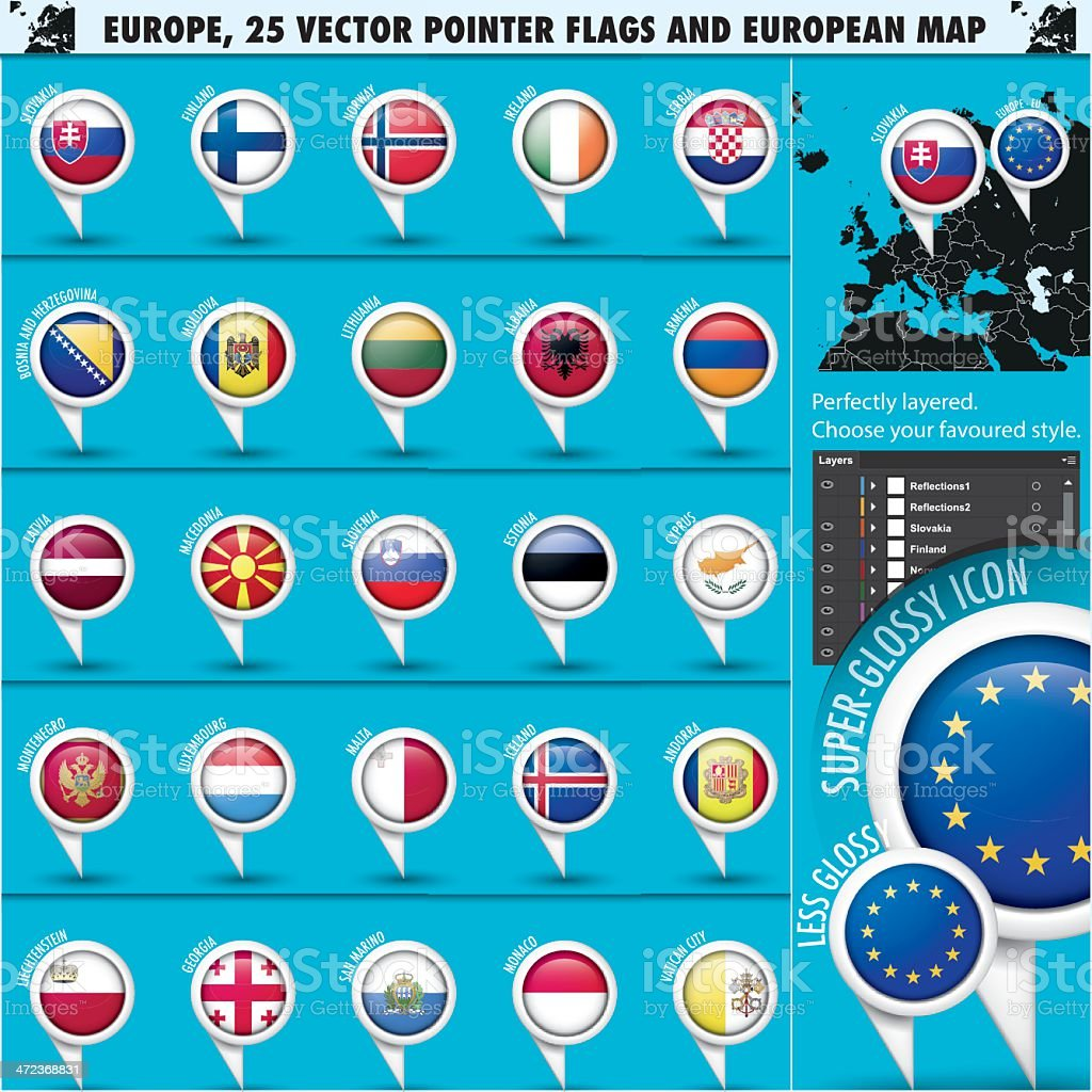 European Icons Round Indicator Flags and Map Set2 royalty-free stock vector art