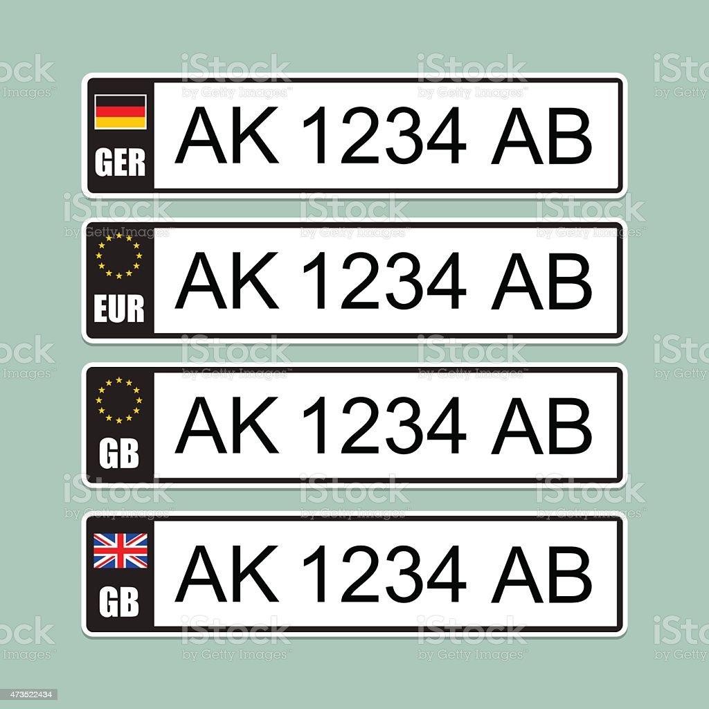 European license number plate vector art illustration