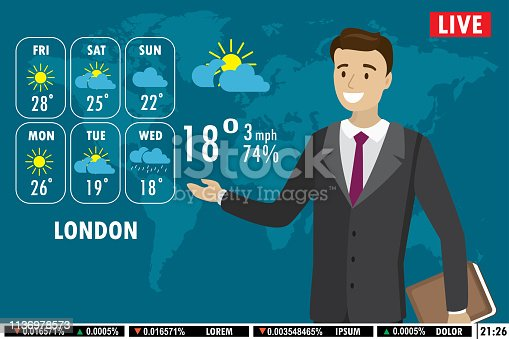 istock European male news anchor tells weather forecast on tv 1136978573