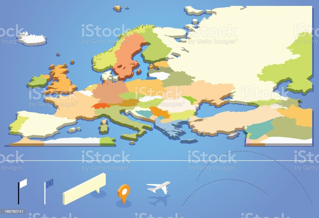 Graphic design of European map vector art illustration