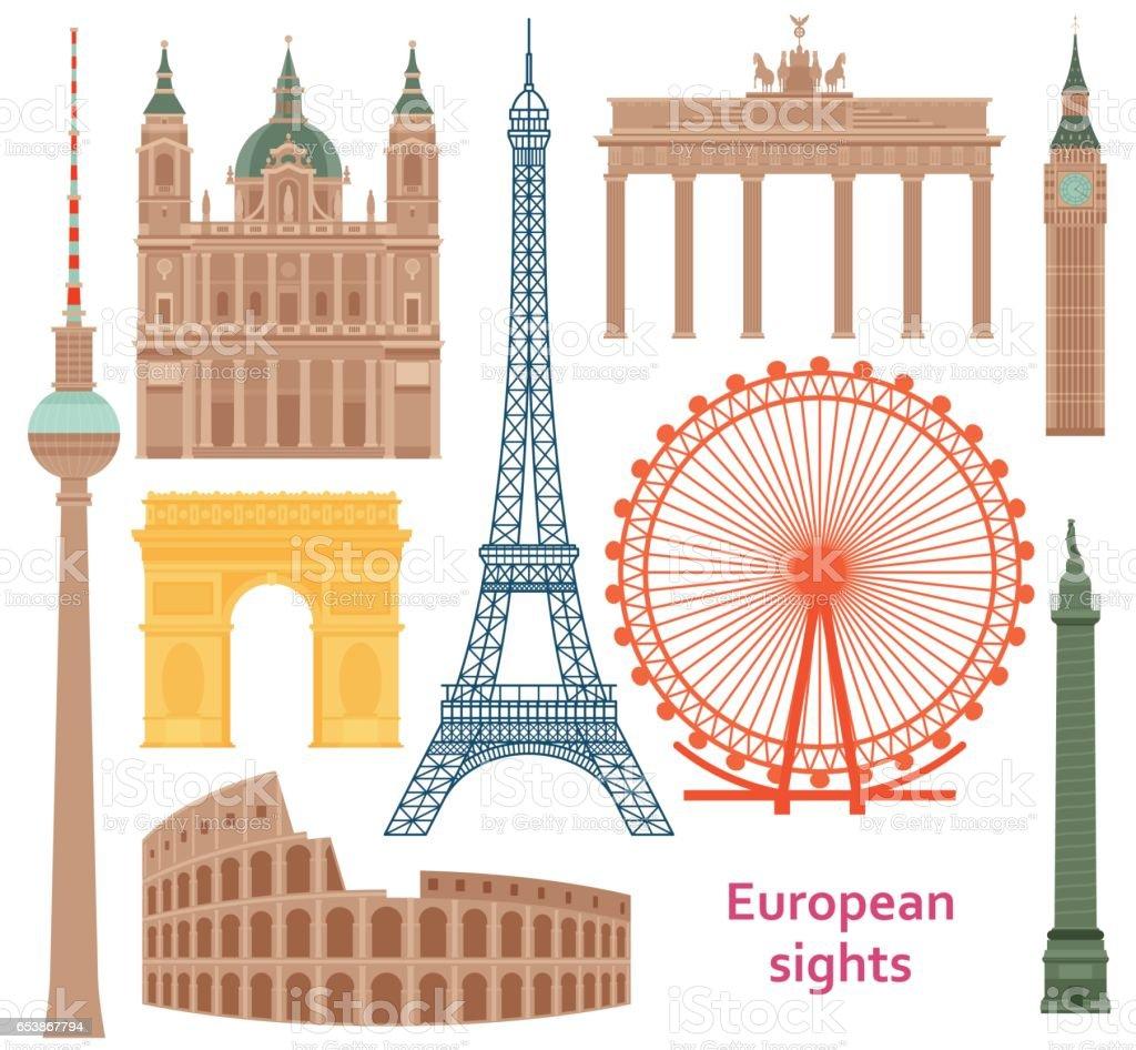 Europäische berühmtesten flach zum Ziel gesetzt. Vektor-Illustration. – Vektorgrafik