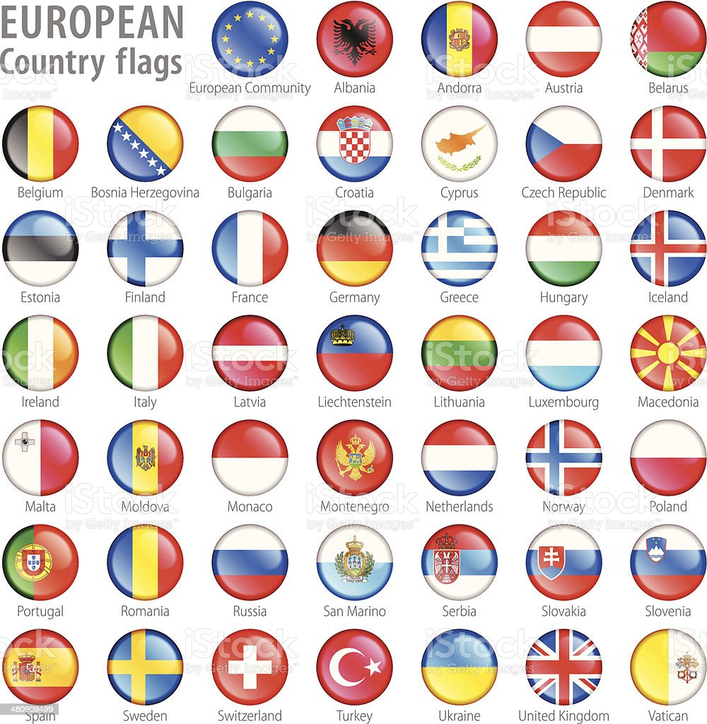 European National Flag Buttons Set vector art illustration