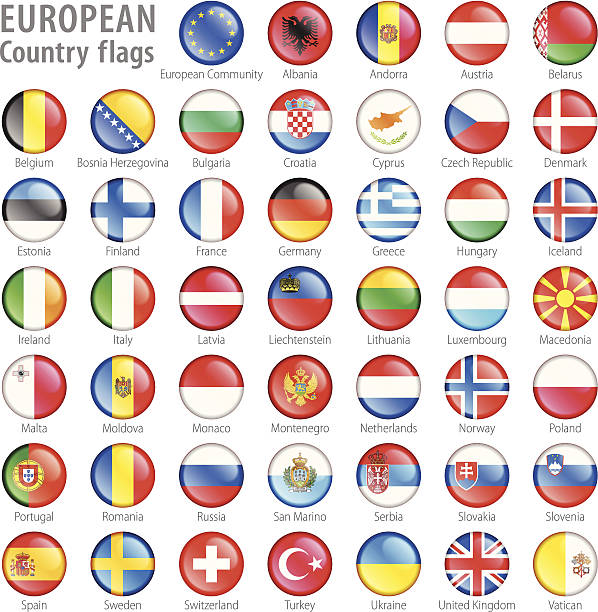 european national flag buttons set - macedonia country stock illustrations, clip art, cartoons, & icons