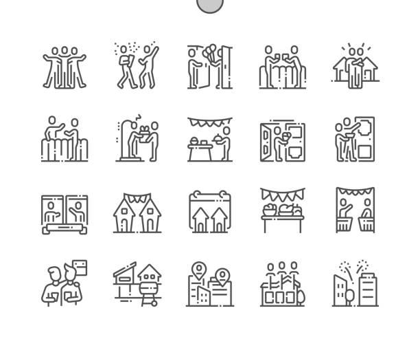 stockillustraties, clipart, cartoons en iconen met europese buren dag goed vervaardigde pixel perfecte vector dunne lijn pictogrammen 30 2x grid voor webafbeeldingen en apps. eenvoudige minimale pictogram - buren