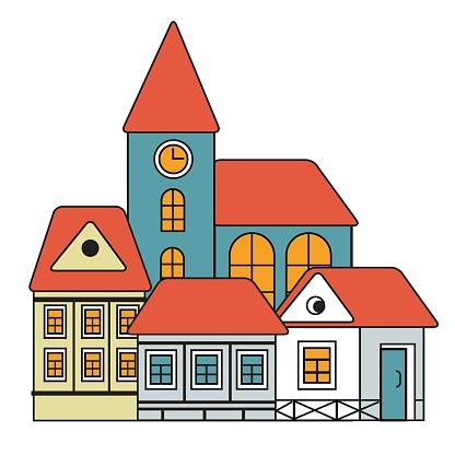 european old town vector illustration
