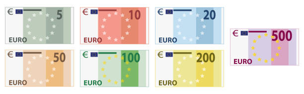 europäische papierwährung - euros cash stock-grafiken, -clipart, -cartoons und -symbole