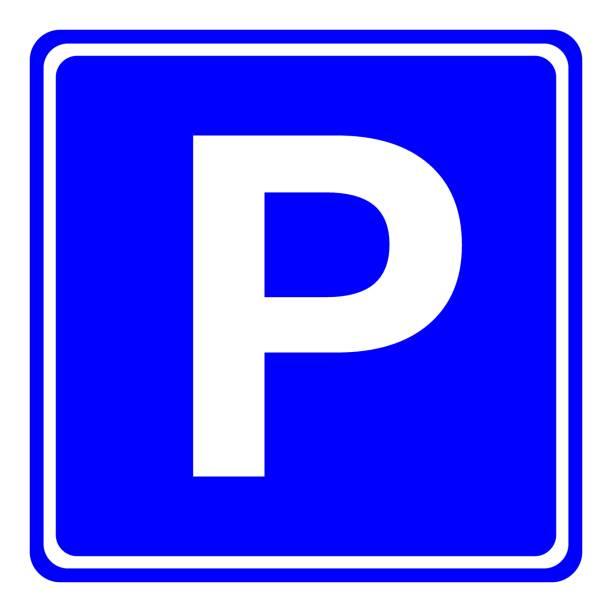 illustrations, cliparts, dessins animés et icônes de signe d'espace de stationnement européen dans le carré bleu. vector - gare