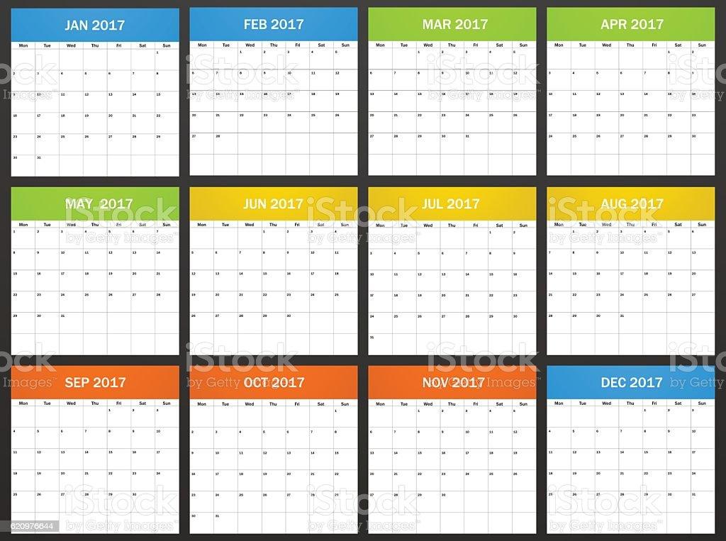 European Planner blank for 2017.  Week starts on monday vector art illustration