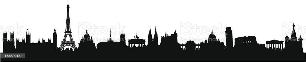 European Skyline (Buildings Are Detailed, Moveable and Complete) vector art illustration