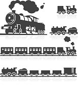 3D and 2D icon set of European and UK style classic steam trains.