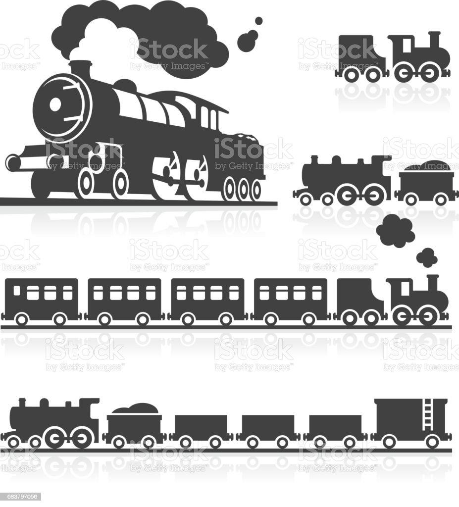 Europäische Steam Train-Icon-Set – Vektorgrafik