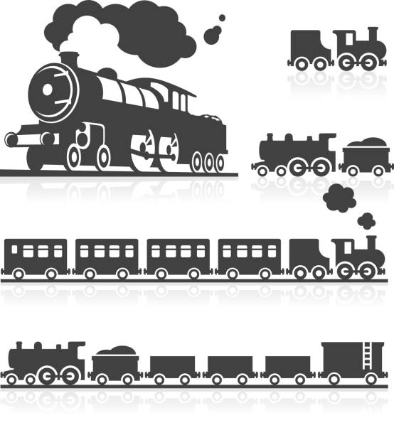 Européen de Steam Train Icon Set - Illustration vectorielle