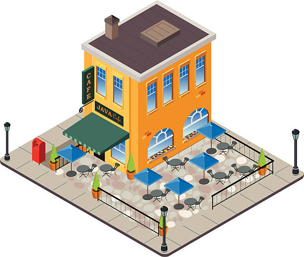 European style coffee shop Isometric vector view of a European style coffee shop. Scene includes awning, outdoor patio with umbrellas, sidewalk view. patio stock illustrations