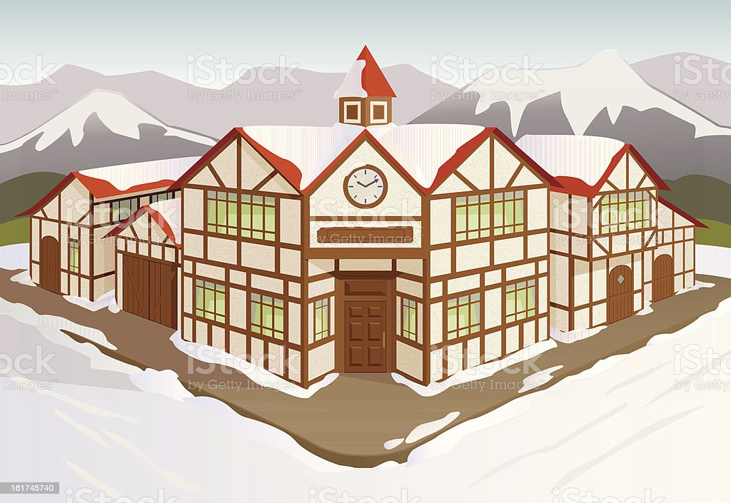 European town square in winter snow royalty-free stock vector art