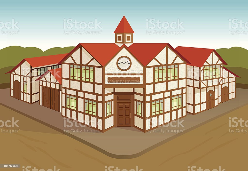 European town square royalty-free stock vector art