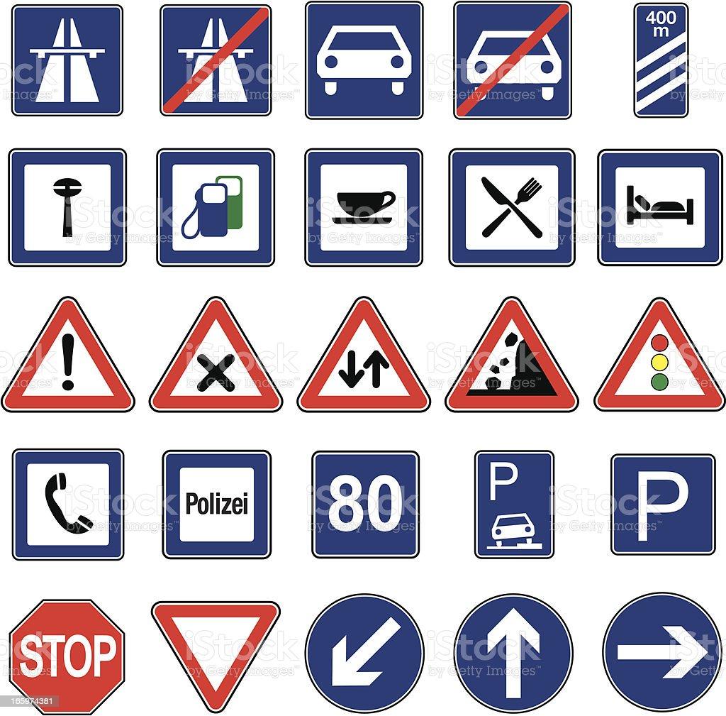 European Traffic Signs Icon Set royalty-free stock vector art