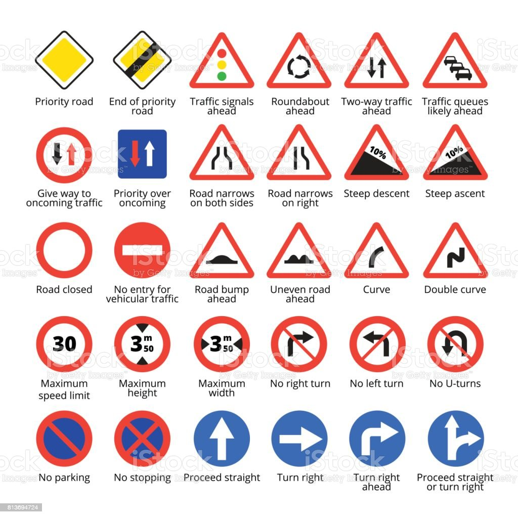 European Traffic Signs Vector Road Icons Collection Stock ...