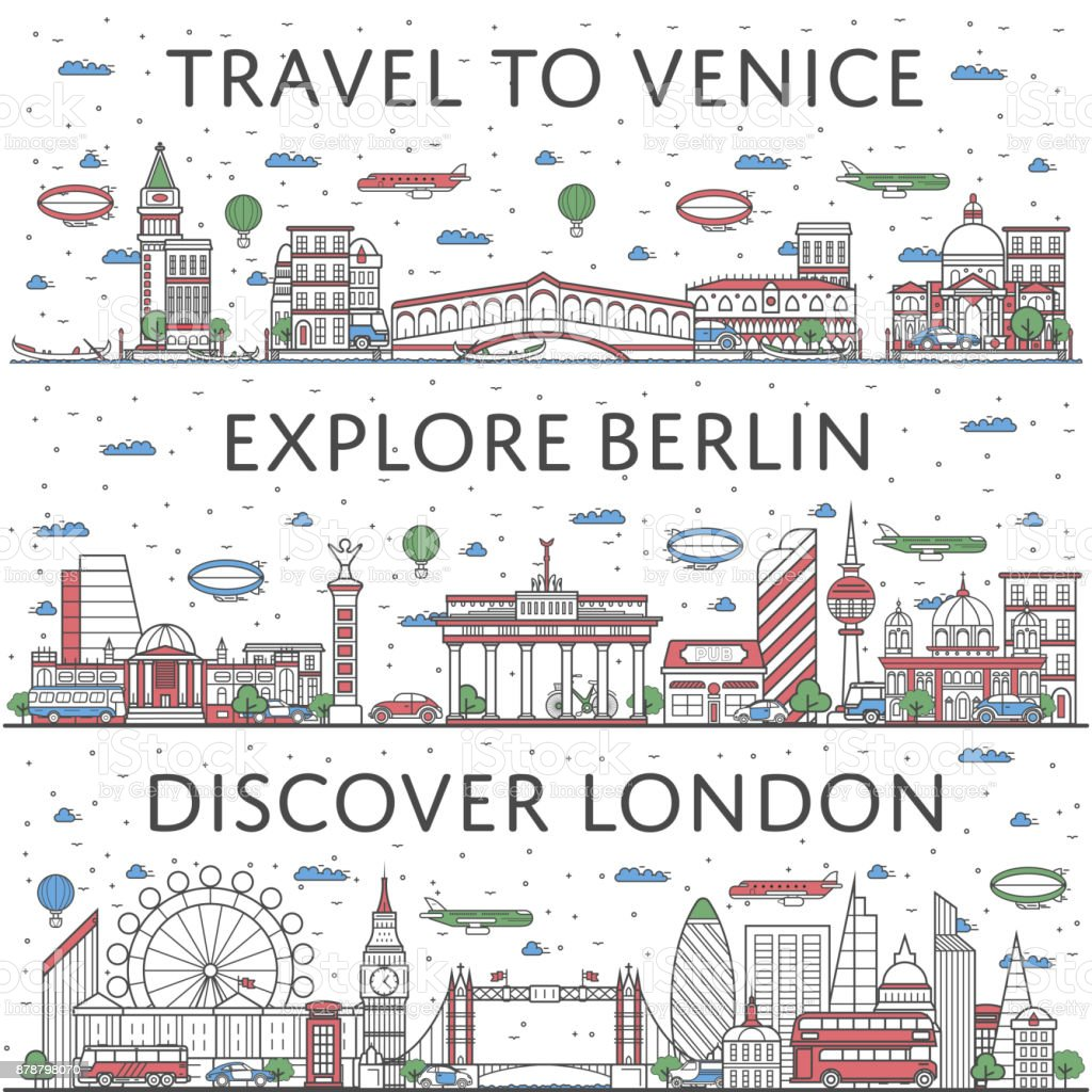 European traveling posters in linear style vector art illustration