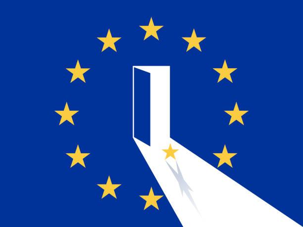 europäischen union, a star verlassen aus ausgangstür auf die eu-flagge-vektor-illustration - türposter stock-grafiken, -clipart, -cartoons und -symbole