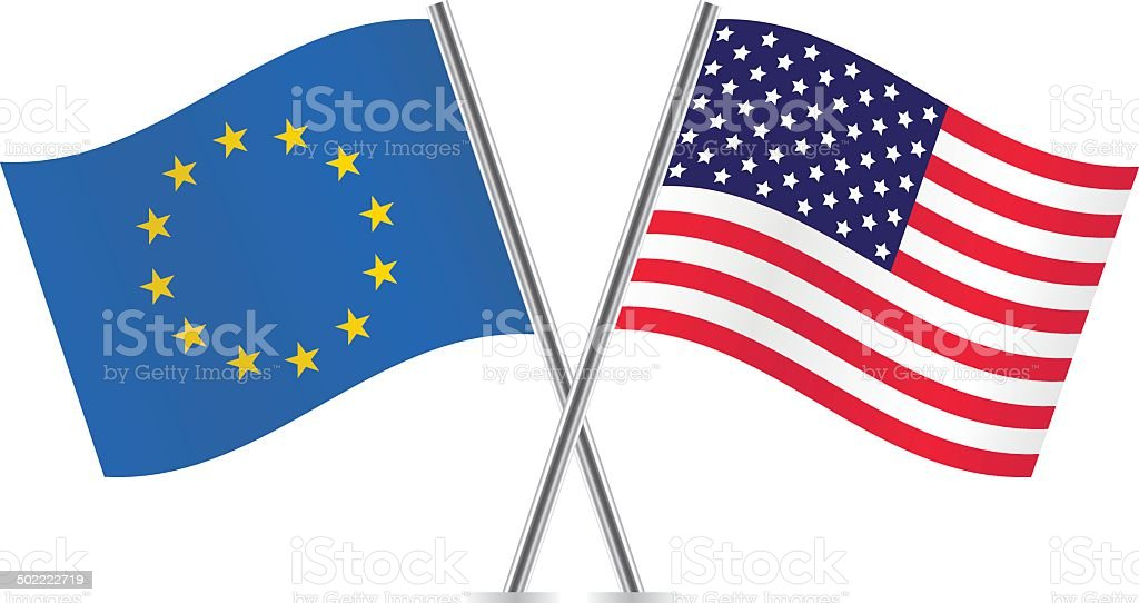 European Union and American flags. vector art illustration