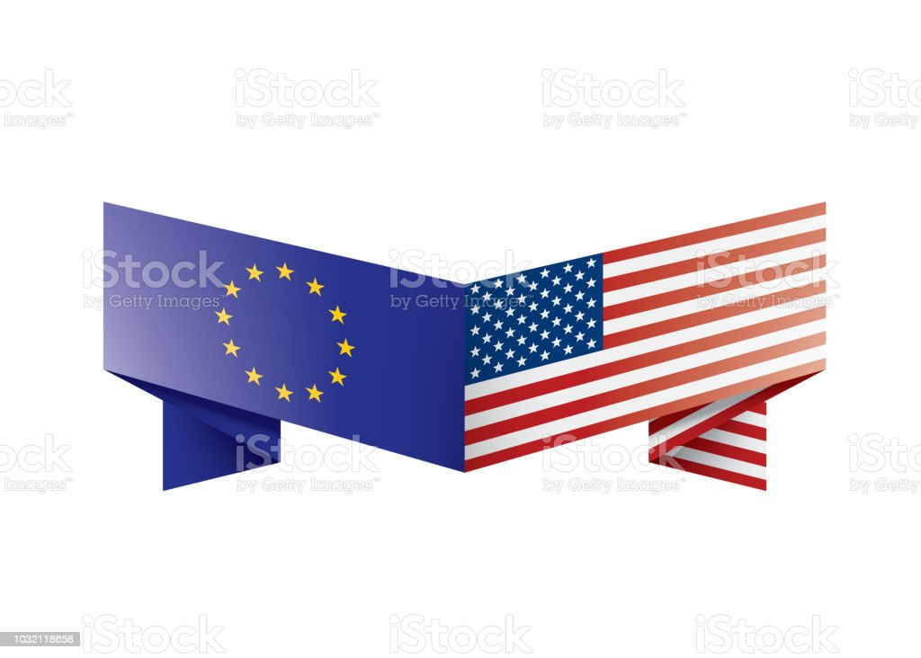 European Union And American Flags Vector Illustration Stock