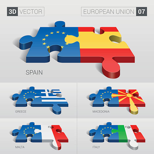 european union and flag. 3d vector puzzle. set 07. - macedonia country stock illustrations, clip art, cartoons, & icons