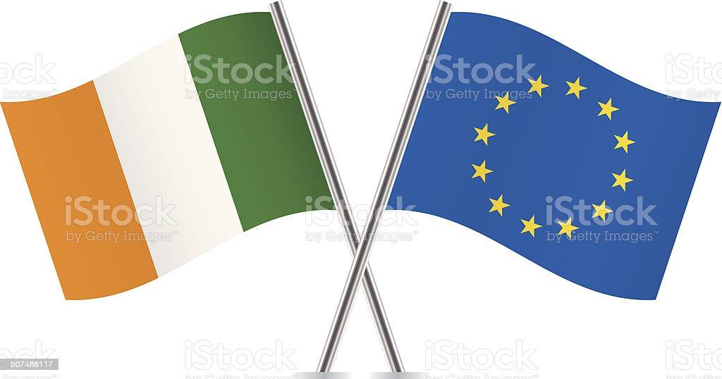 Europäische Union und die irische Flagge.  Vektor. – Vektorgrafik