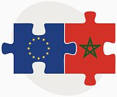 European Union and Morocco Flags in puzzle