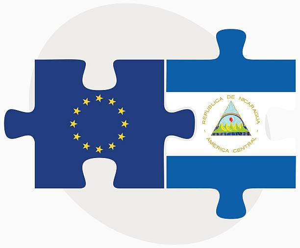 europäische union und nicaragua flags in puzzle - managua stock-grafiken, -clipart, -cartoons und -symbole
